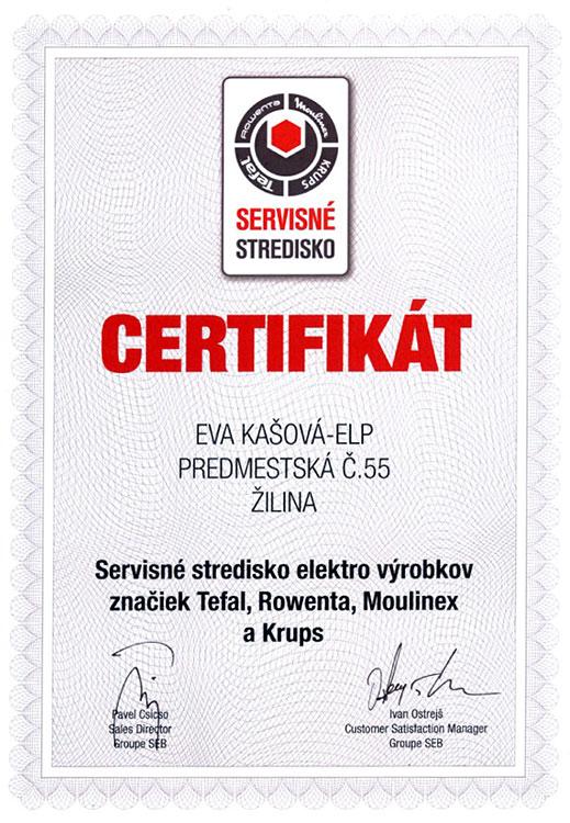 Certifikát – Eva Kašová ELP